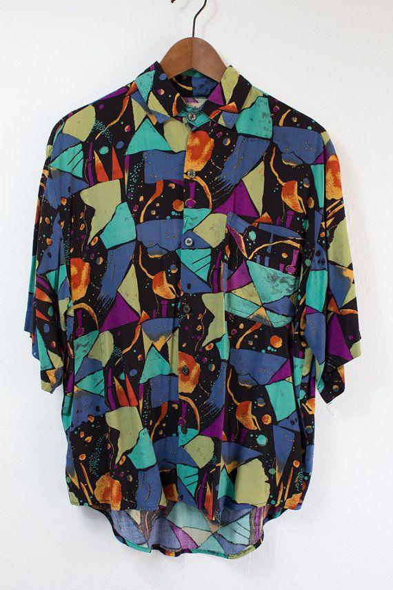 674ed1370c14 Vintage 80 s Multi Color Short Sleeve Dress Shirt - (Medium Large) on Etsy