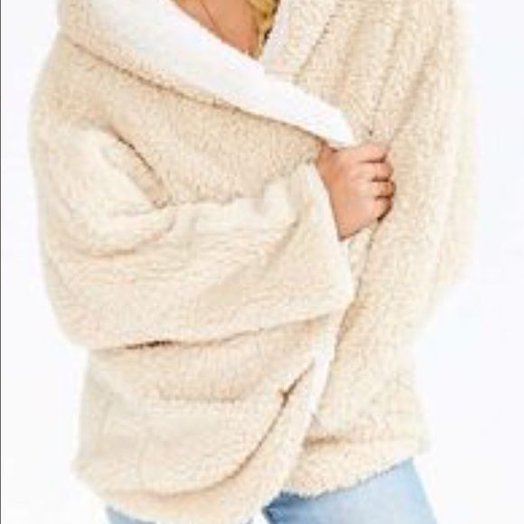 Sherpa fleece hooded teddy bear wrap coat