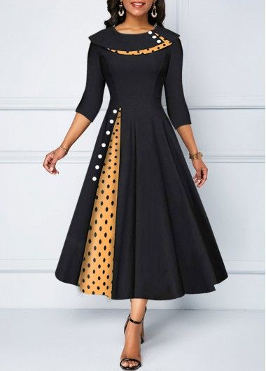 Polka Dot Print Button Detail Dress | modlily.com - USD $32.76 #fashiondresses