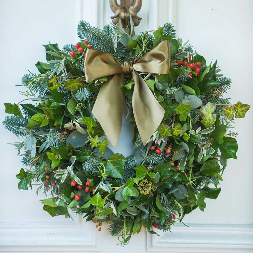 Berry, Herb & Foliage Door Wreath Real christmas wreaths