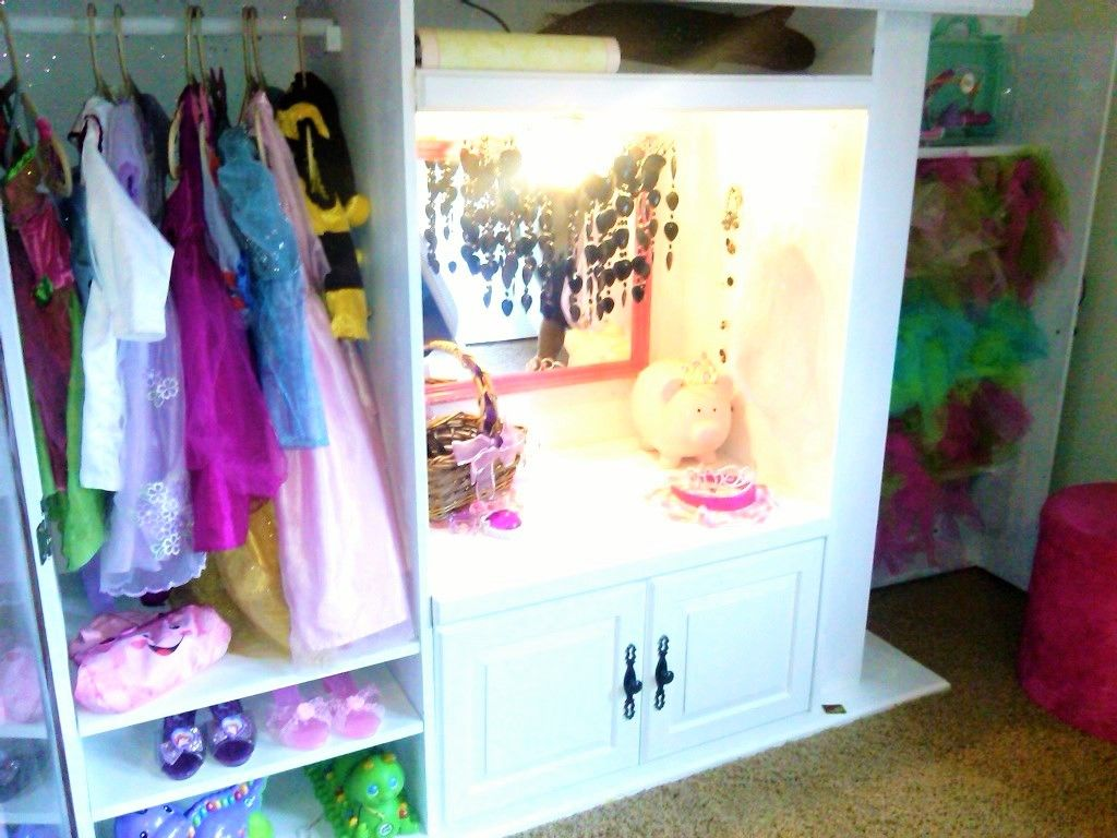 Re purposed entertainment center becomes a vanity and dress up just a little paint and elbow grease and voila its beautiful vanity dress up recycle entertainment center wardrobe repurpose little girl diy do solutioingenieria Images