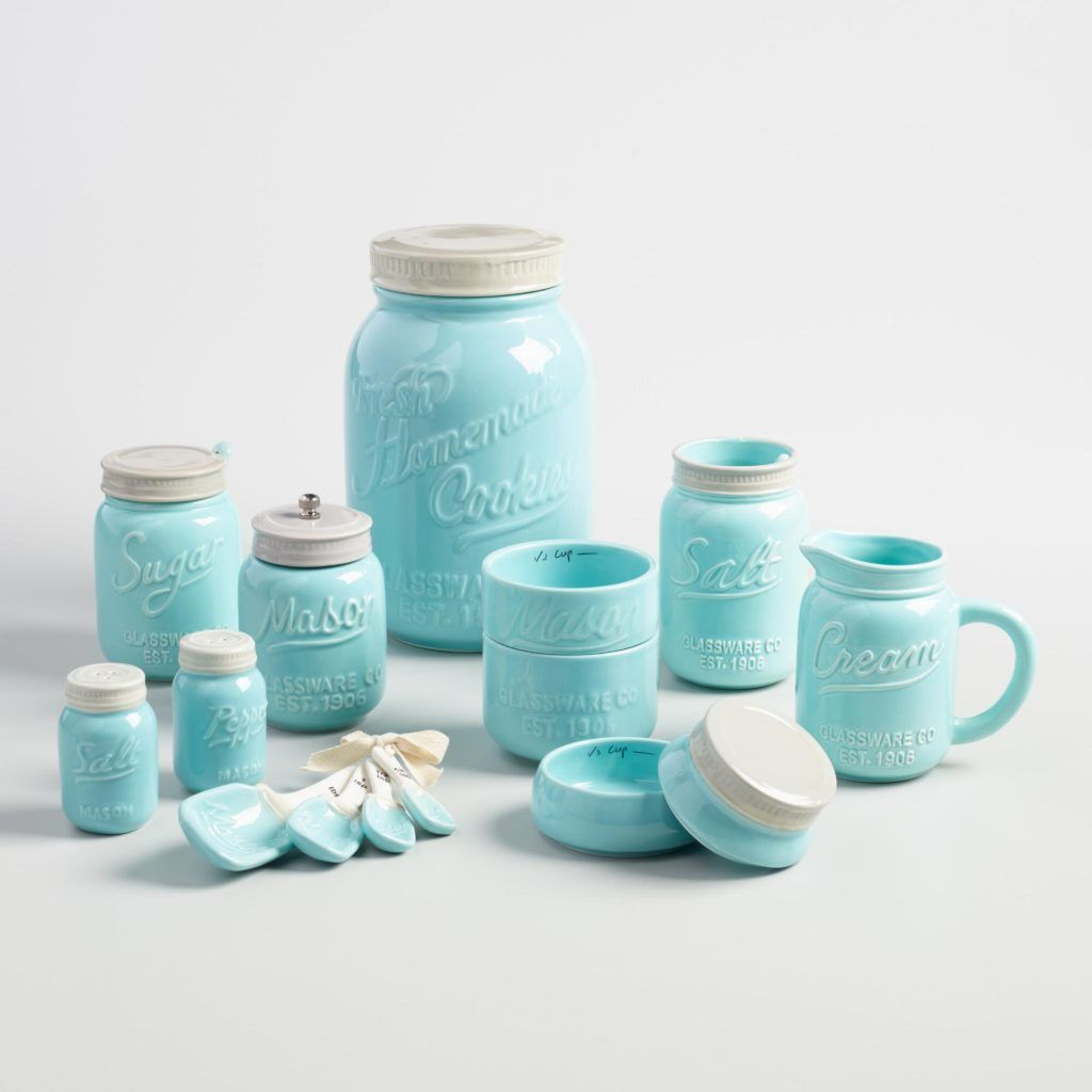 Modern Farmhouse Kitchen Decor Canisters Utensils Storage Ideas Rustic Country Farmhouse Blog Shop Mason Jar Kitchen Blue Mason Jars Mason Jar Measuring Cups