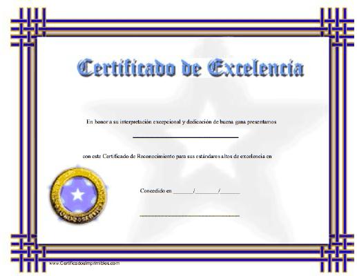 Certificado De Excelencia Modelos De Diplomas Marcos Para Diplomas Diplomas Para Descargar