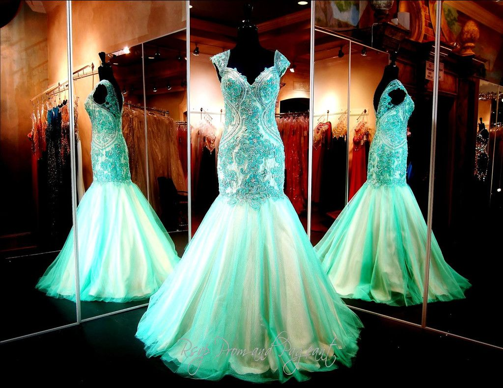 Seafoam Mermaid Prom or Pageant Dress-Cap Sleeves | Pageants, Rsvp ...