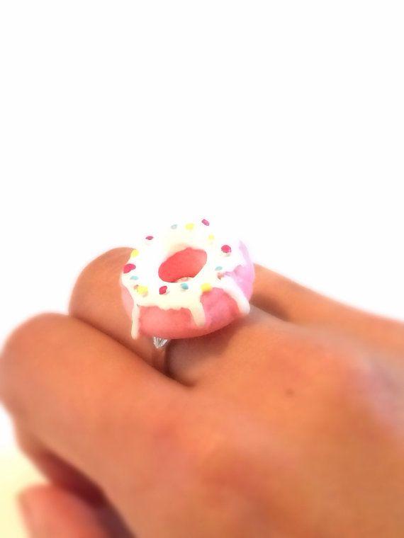 Donut Adjustable Metal Ring, Pink with sprinkles,miniature food, kawaii, marie antoinette, hunger games inspired