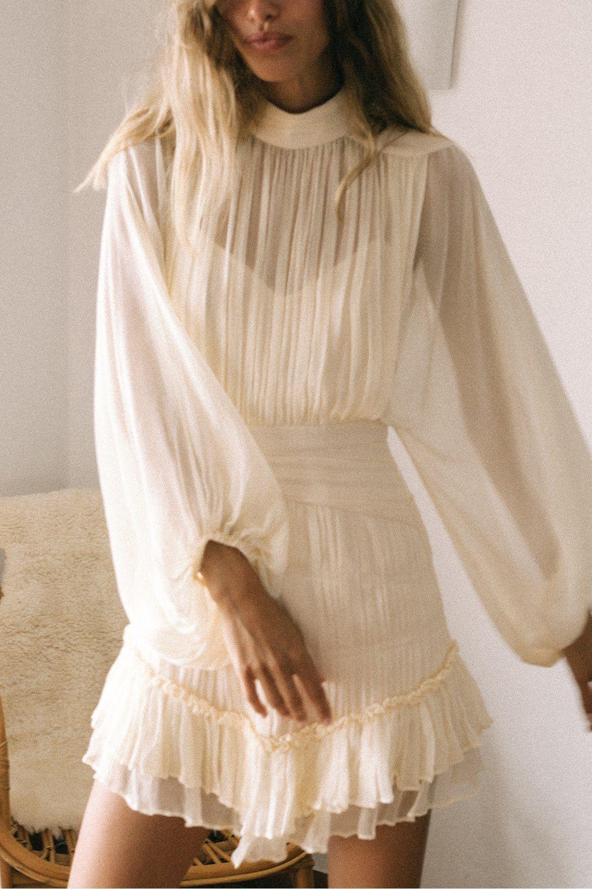 Victoria Long Sleeve Ruched Mini Dress Cream Long Sleeve Casual Dress Cute Long Sleeve Dresses Mini Dress [ 1800 x 1200 Pixel ]