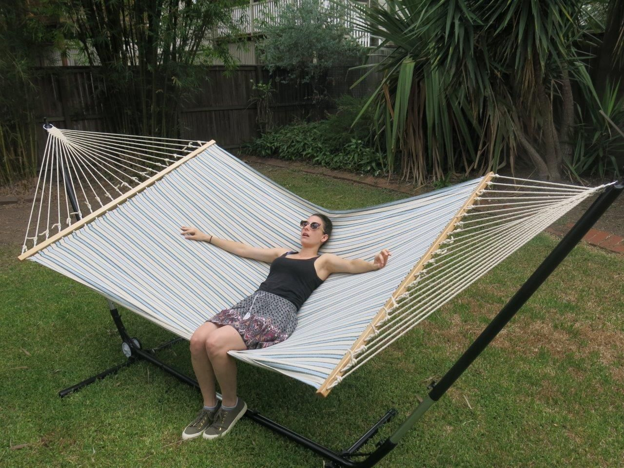 large blue and white canvas hammock with spreader bar   heavenly hammocks large blue and white canvas hammock with spreader bar   free      rh   pinterest