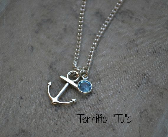 Sweet & Simple Anchor Necklace With Swarovski Birth by TerrificTus, #anchor #necklace #jewelry #terrifictus