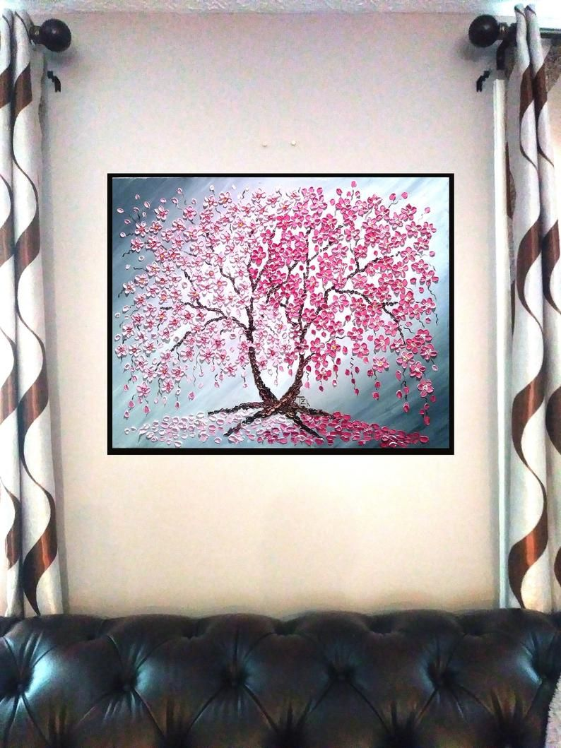 Cherry Blossom Tree Original Painting Oil Impasto Painting Canvas Painting Large Tree Painting Bedroom Wall Decor Above The Bed Wall Art Tree Painting Painting Original Paintings