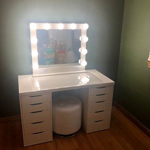 Large White 32x28 Hollywood Style Lighted Vanity Makeup Mirror Etsy In 2021 Bedroom Beauty Room Ikea Hack