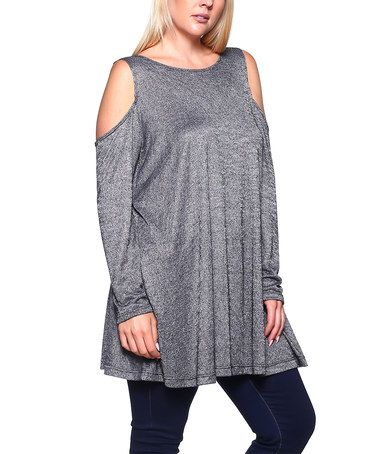 Look what I found on #zulily! Heather Black Cold-Shoulder Swing Tunic - Plus #zulilyfinds
