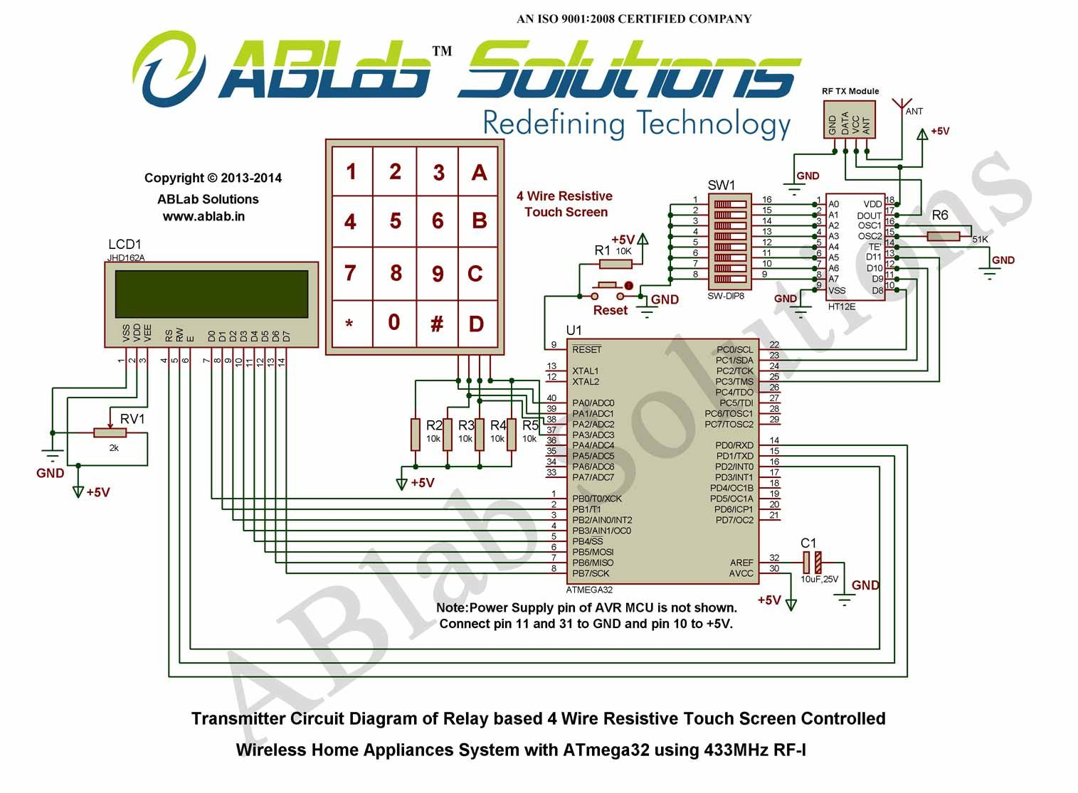 hight resolution of relay based 4 wire resistive touch screen controlled wireless home appliances system with avr atmega32 microcontroller using 433mhz rf i transmitter circuit