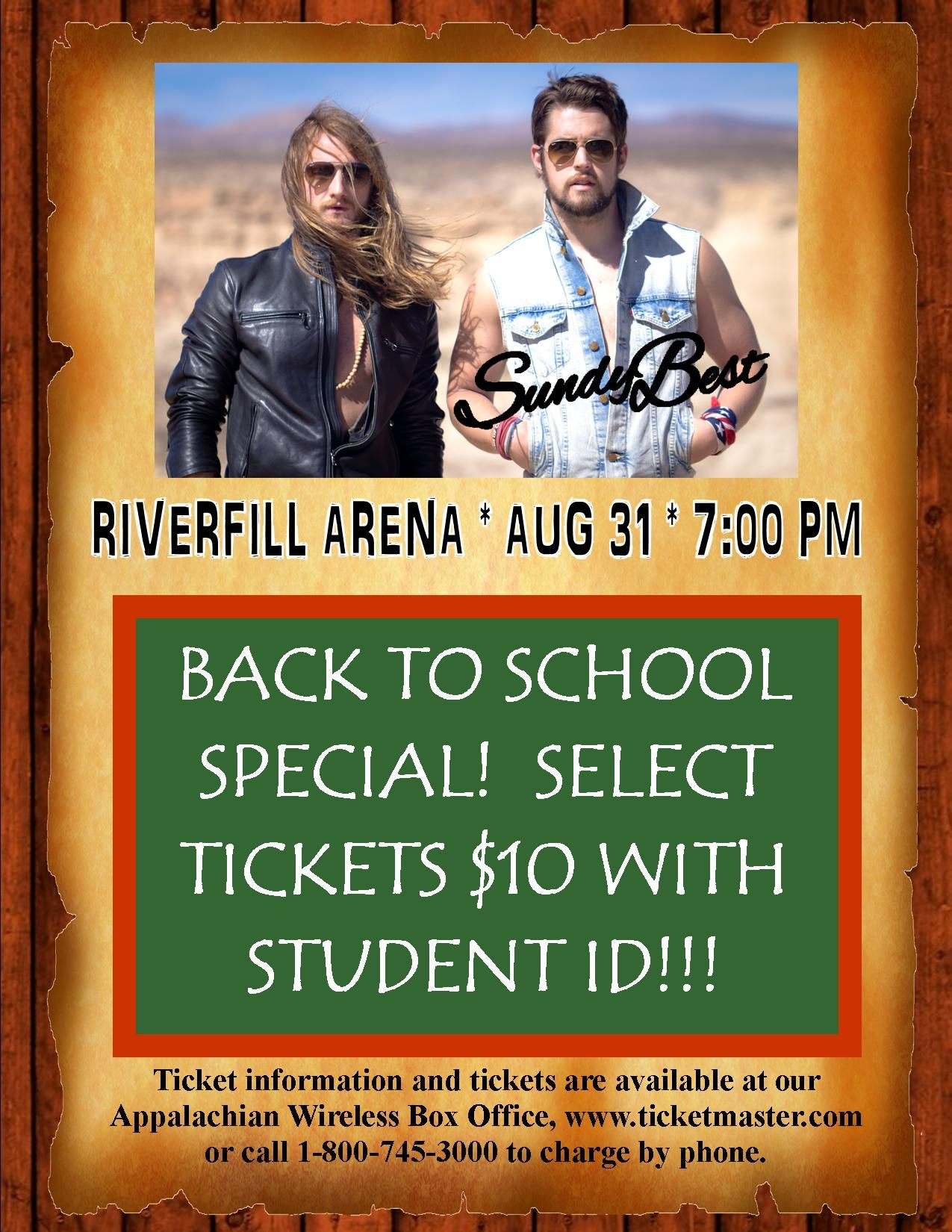 Back to school special!!!  Select Sundy Best tickets are only $10 with a student ID!!!