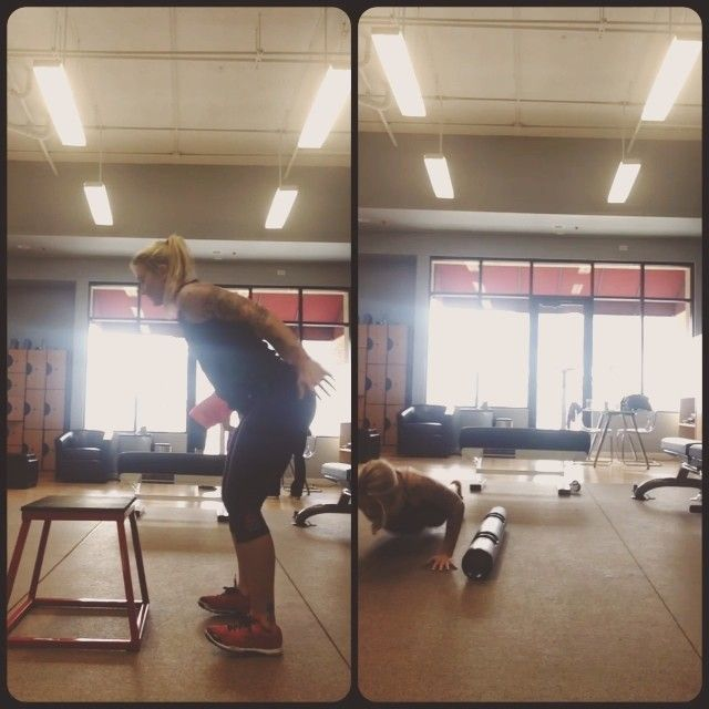 I tried a few new exercises today. LEFT: jump to feet in a kneeling position and into a box jump. RIGHT: side hop over a Vipr with a burpee. Other plyometrics I did which are not shown: star jumps, box jump burpee with a push-up, side step with bands, double unders. I did these in between my leg strength training workout. Give it a try! Never know what you can do unless you try. I surprised myself with the kneeling ...