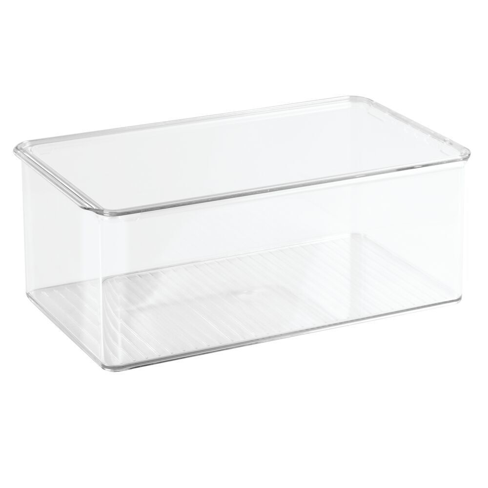 "Plastic Bathroom Vanity Storage Box with Lid - 7.25"" x 12 ..."