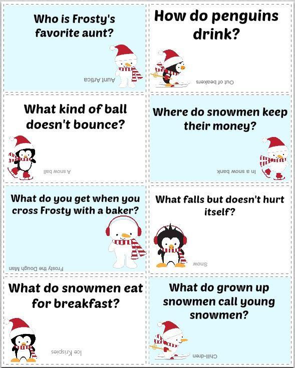 Free Printable Winter Lunch Box Jokes Christmas Jokes For Kids Lunchbox Jokes Christmas Gifts For Kids