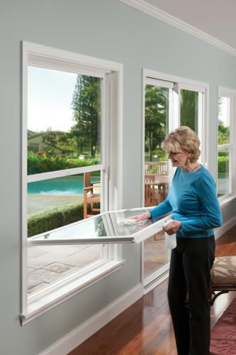 Double Hung Windows Can Be Easy To Clean Featuring Tuscany Series Double Hung Windows In White Double Hung Windows Exterior House Windows Windows
