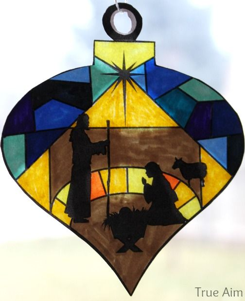 Stained Glass Nativity Ornaments Printable Nativity Ornaments