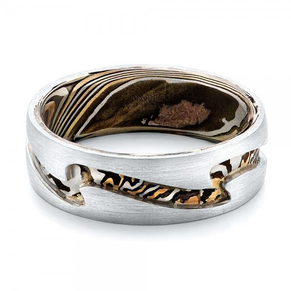 Custom Mens Platinum And Mokume Wedding Band