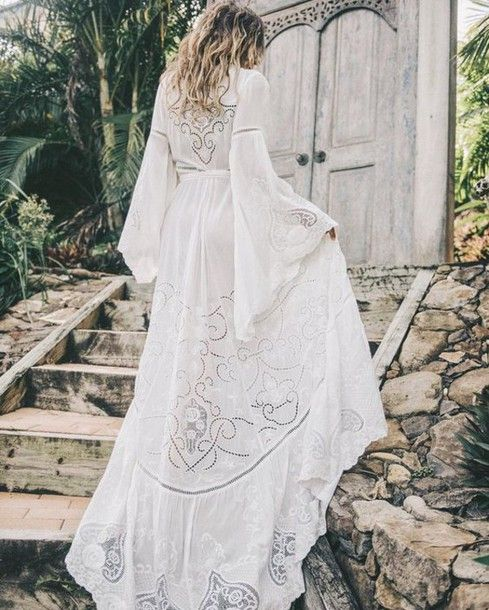 Dress Long Sleeve Lace Bell Sleeves Maxi White Summer