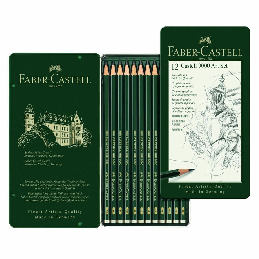 119065 Faber Castell Tin Of 12 Castell 9000 Graphite Pencils