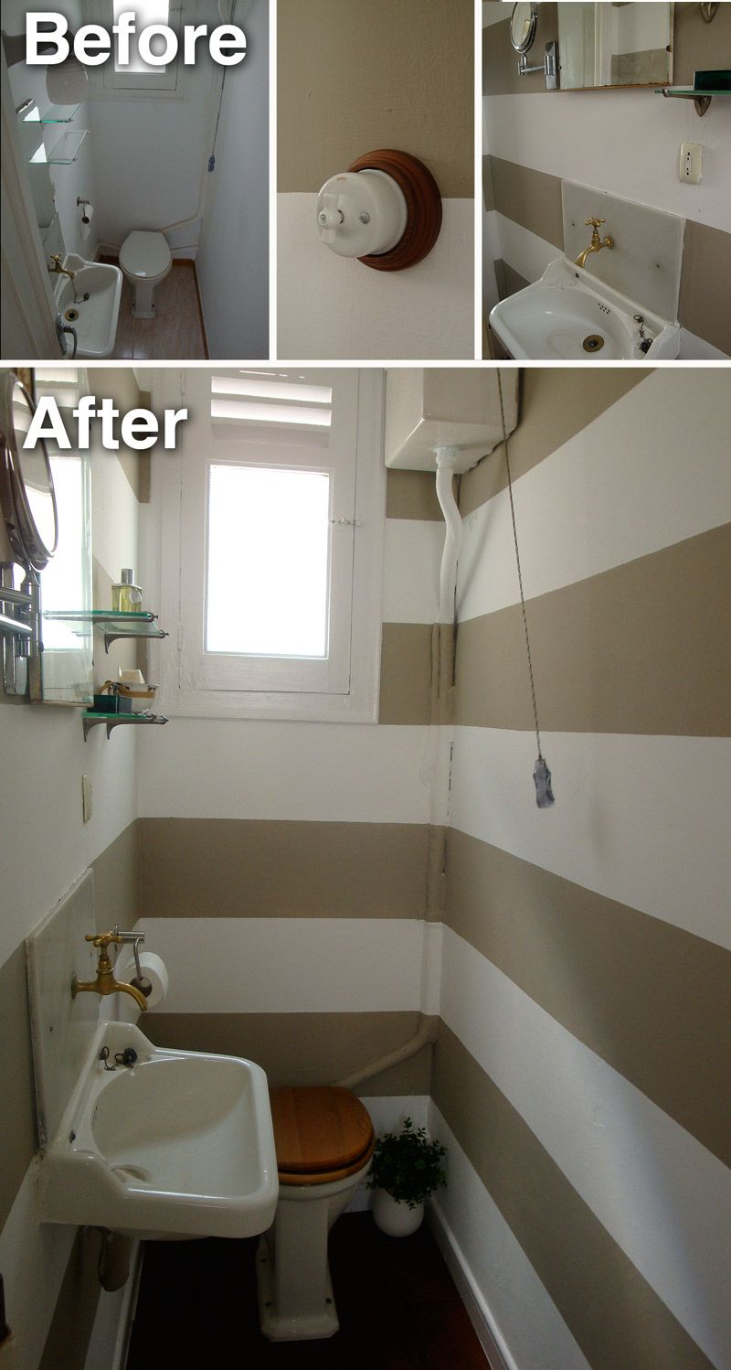 Small Toilet Before After I Love To Upper Tank And The Stripes Painted Onto Plumbing
