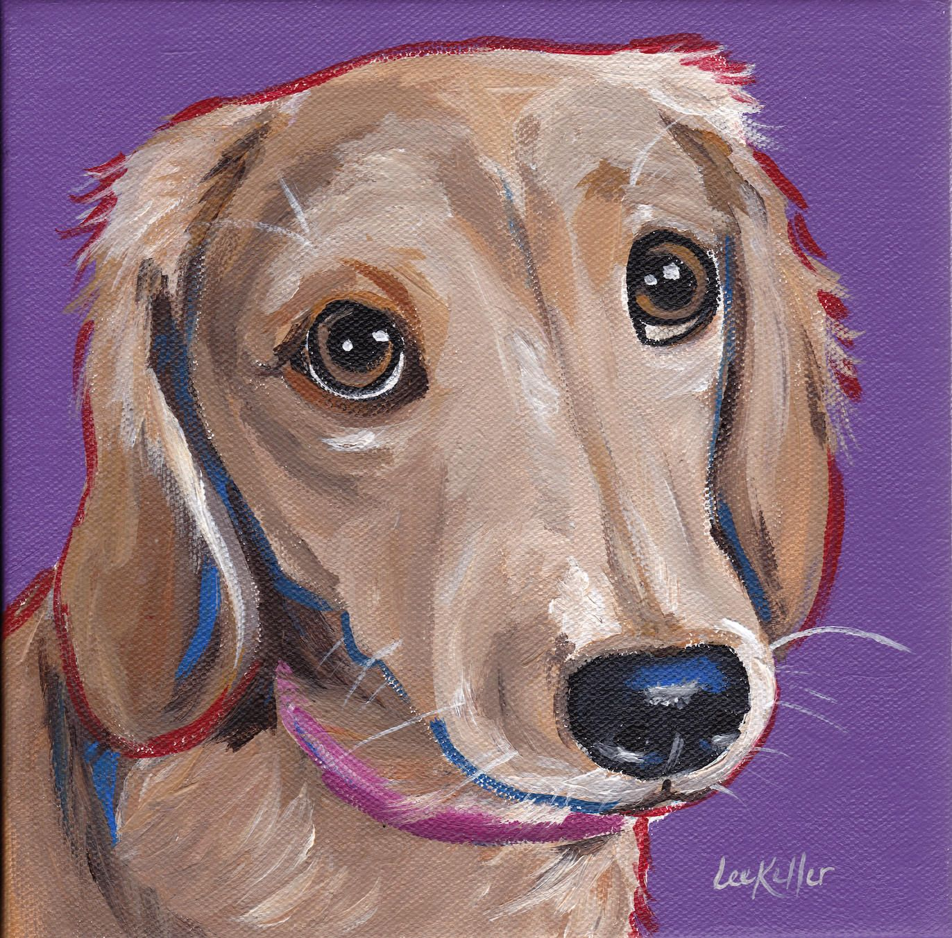 Dachshund Art Print From Original Dachshund Painting Blonde