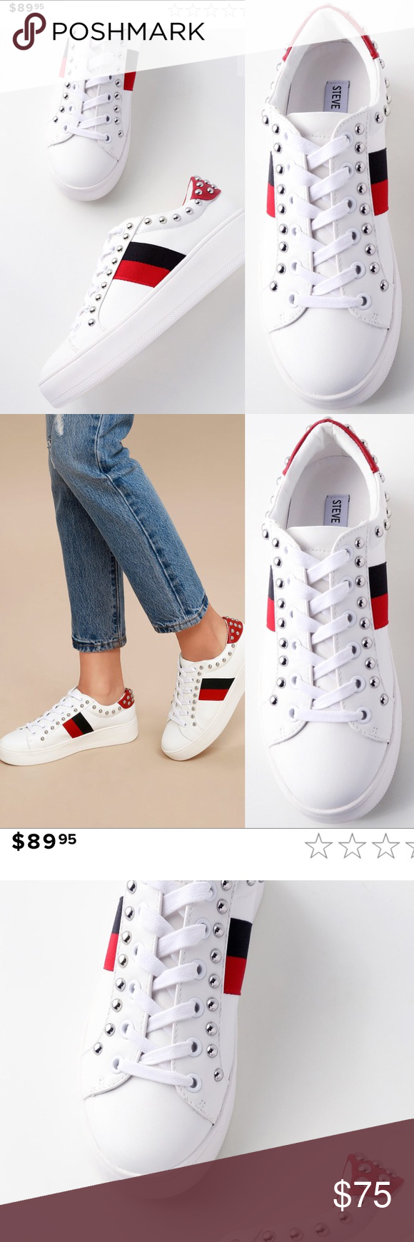 8c1e972dc Steve Madden White Multi Leather Sneakers You will be #trending when you  rock the Steve Madden Belle White Multi Leather Sneakers!