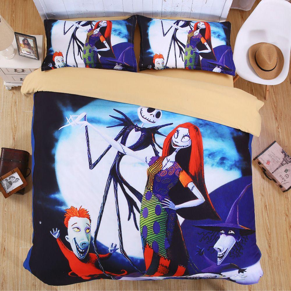 Nightmare Before Christmas Bedding Set Skull 3D Printed Bed Sheet ...
