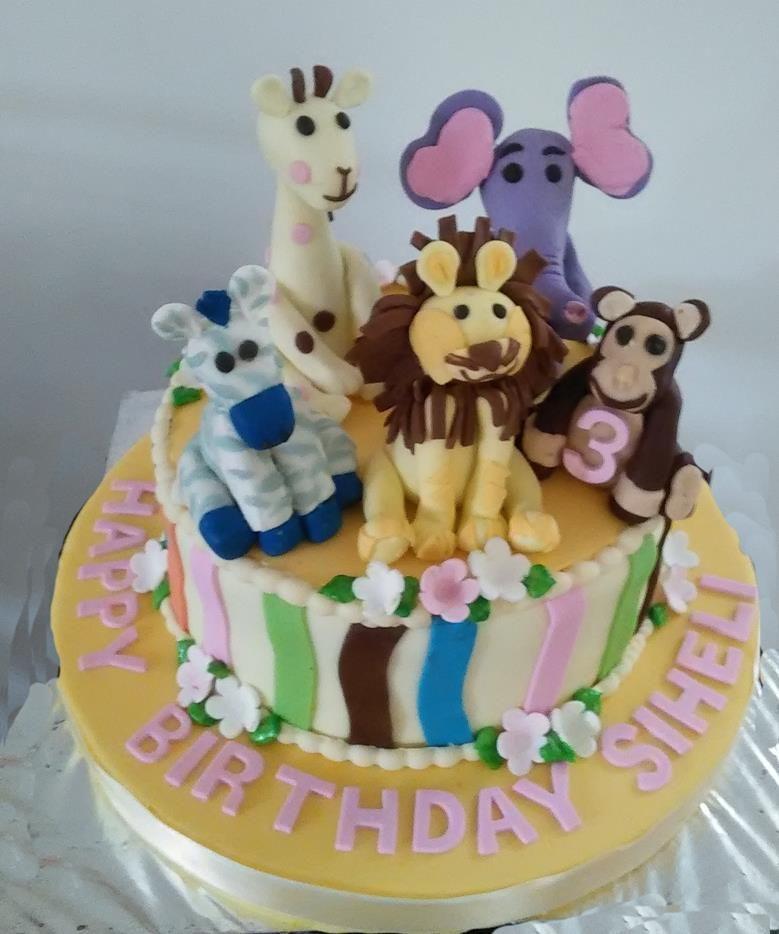 Animals Theme Birthday Cake Designed And Created By Yamuna Silva Of