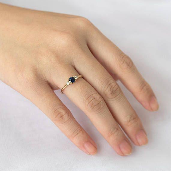Three Stone Sapphire Diamond Ring 14k Solid Gold Diamond Sapphire