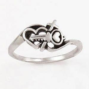 Heart Purity ring Bobsiemon Key Heart Cross Womens Ring