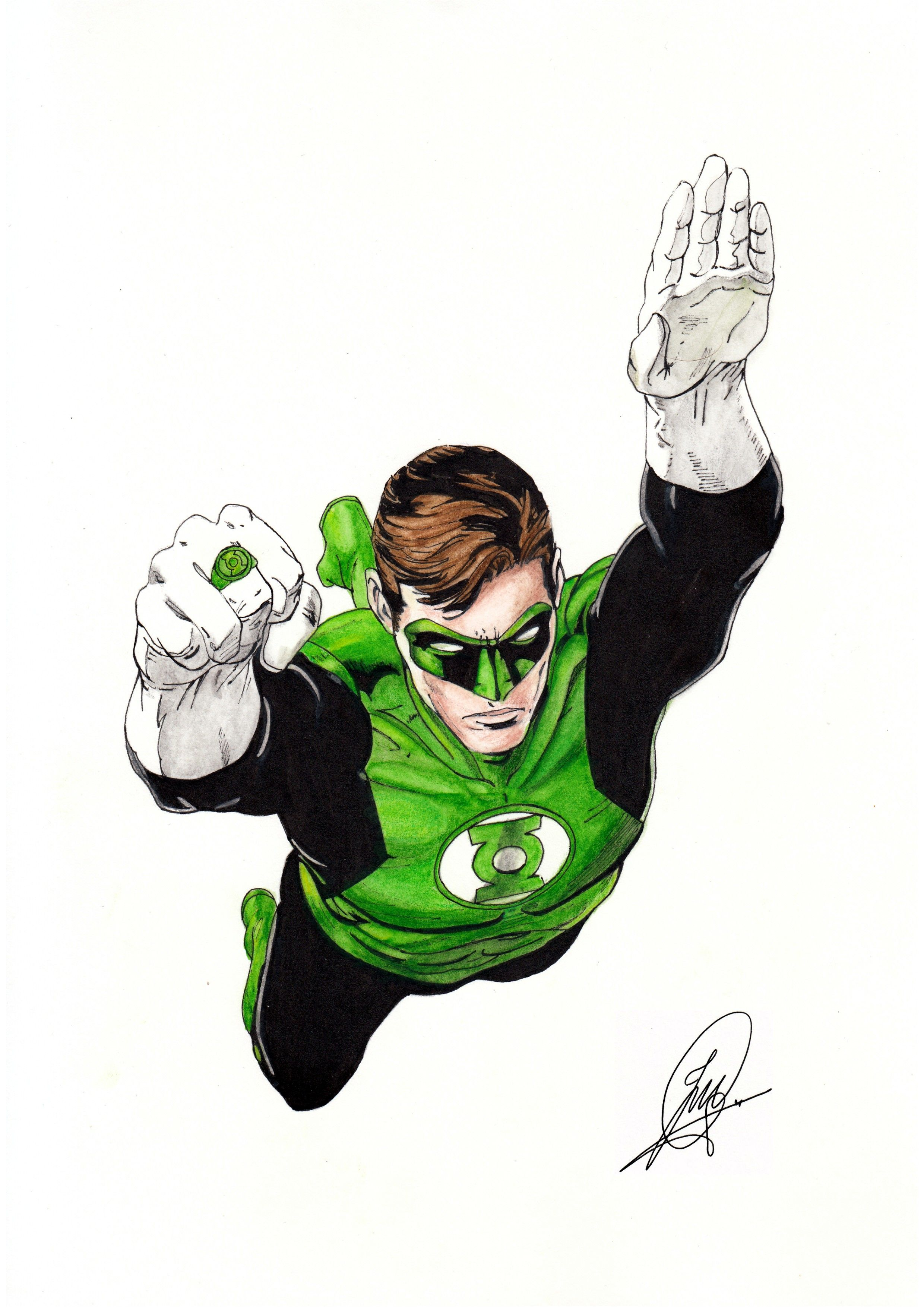 Green Lantern Hal Jordan Linterna Verde Watercolor Acuarela Jose Martin Gomez Dibujos Acuarela Linterna Verde