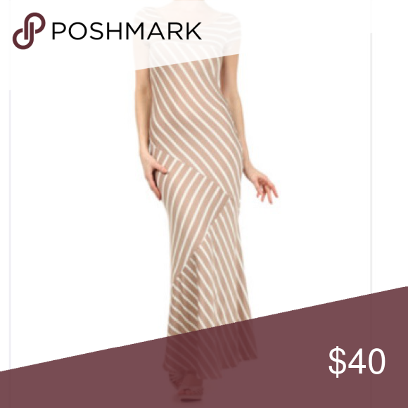 "J-mode USA striped maxi dress Khaki and white stripes cap-sleeved maxi dress. 53"" from shoulder to hem. 65% polyester 30% rayon 5% spandex J-mode usa Dresses Maxi"