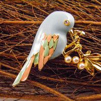 Bird Brooch Dove Pin Pastel Enamel Pearl Gold Leaf