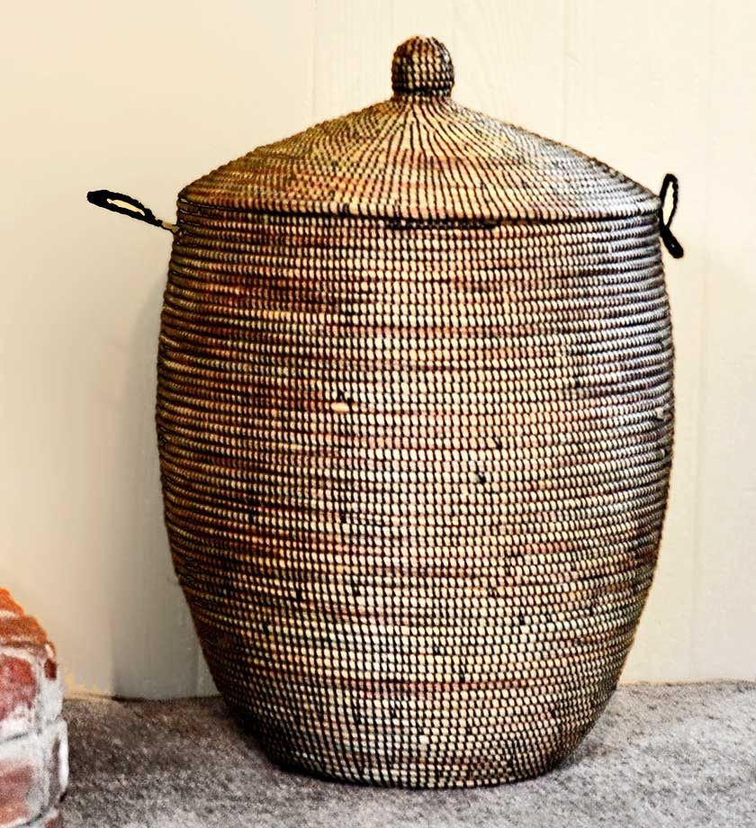 African Baskets With Lids: Large Woven African Basket With Lid