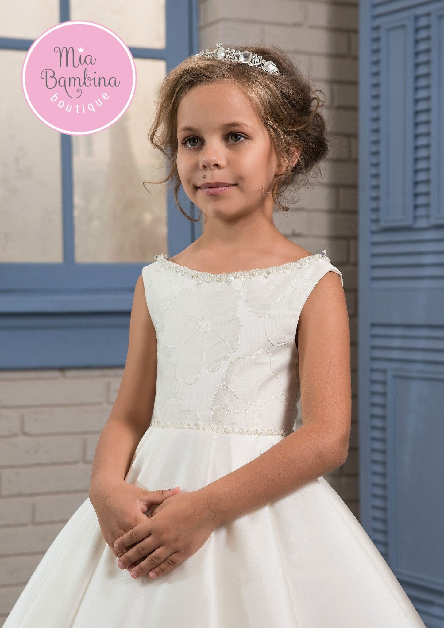 f5198425c A vintage-inspired Fresno dress for flower girls is an elegant and simple  beauty with adorable train detailing. It has a classy A-line silhouette  with ...