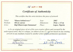 Certificate of authenticity sample art supplies for Artist certificate of authenticity template