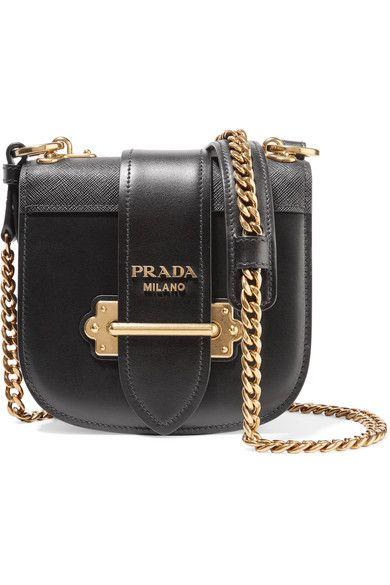866ad5afbf64 Prada - Pionnière Textured-leather Trimmed Leather Shoulder Bag - Black