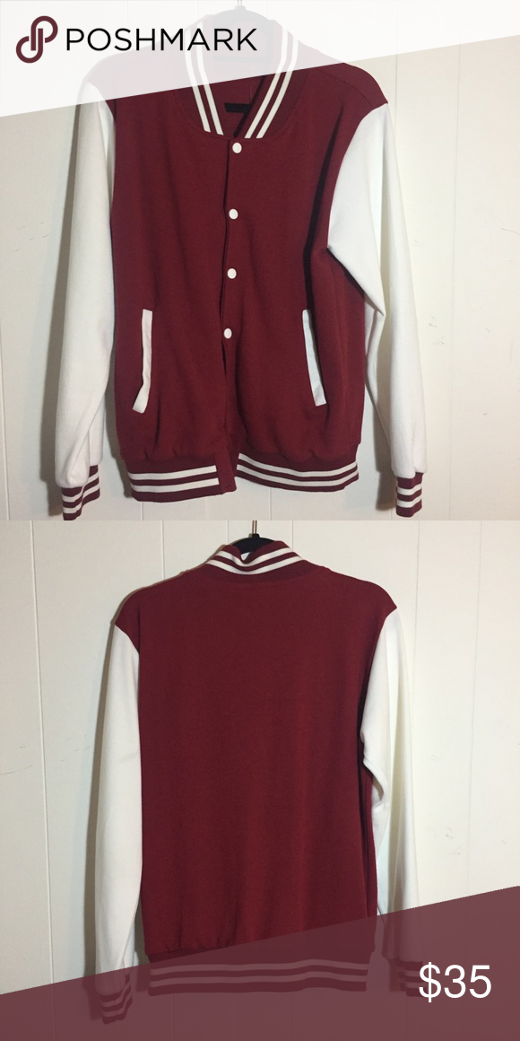 Red And White Varsity Jacket Only Tried On Nwt Size S But Could