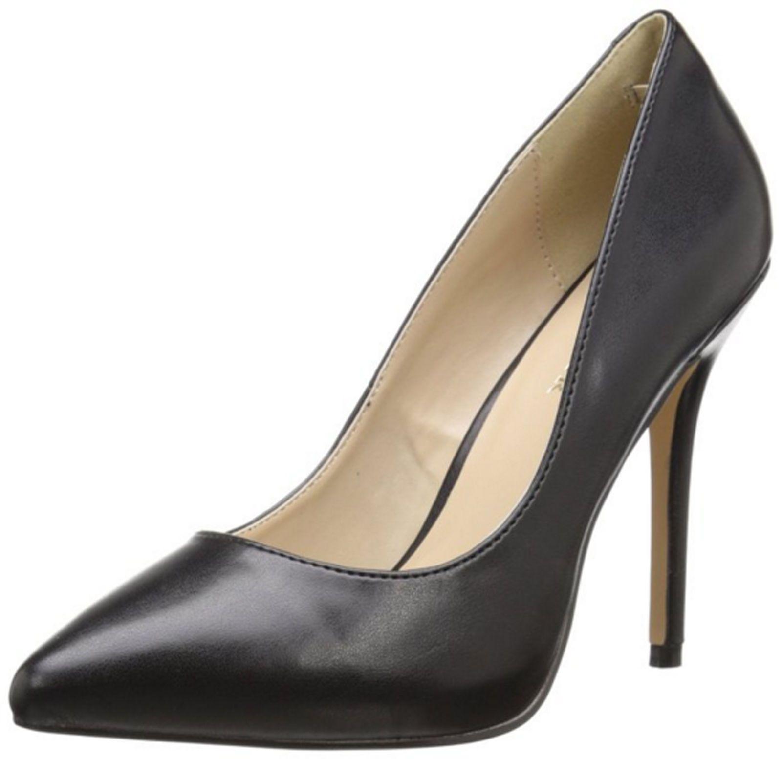 0a5236aa341 Pleaser High Heel Classic Pump Hidden Platform Stiletto Shoes Amuse-20  Black Pu