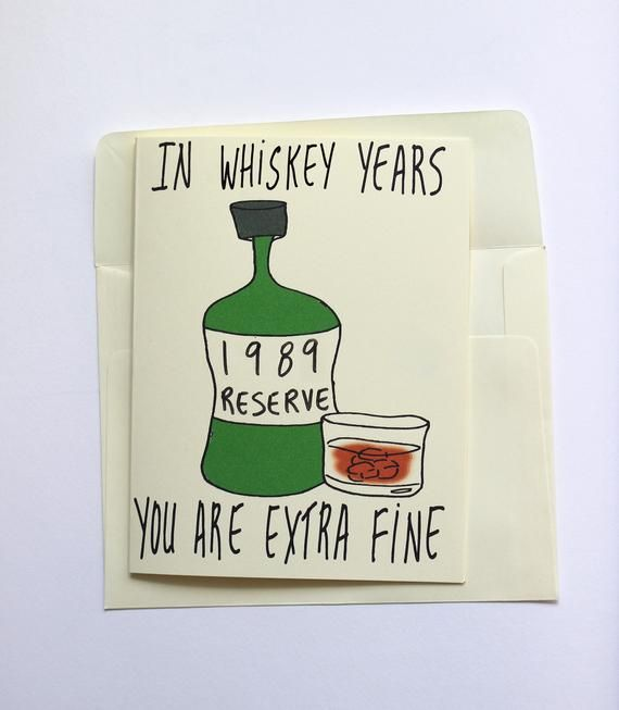 1989 Whiskey Birthday Card Funny Him