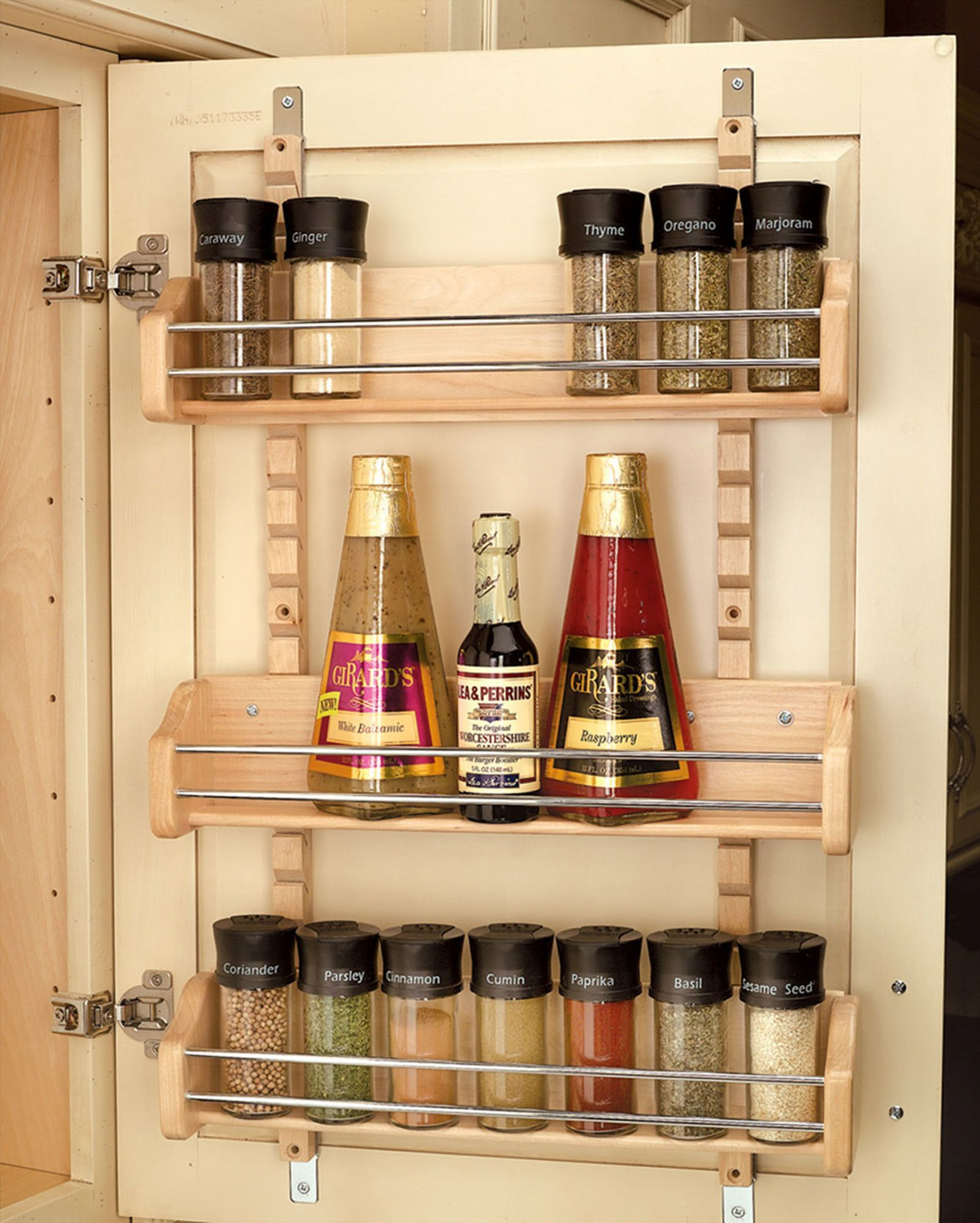 Adjustable Mount Spice Rack Cabinet Door Organizer Organization