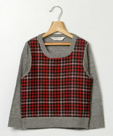 Another great find on #zulily! Gray & Red Melange Sweater - Infant, Toddler & Girls #zulilyfinds