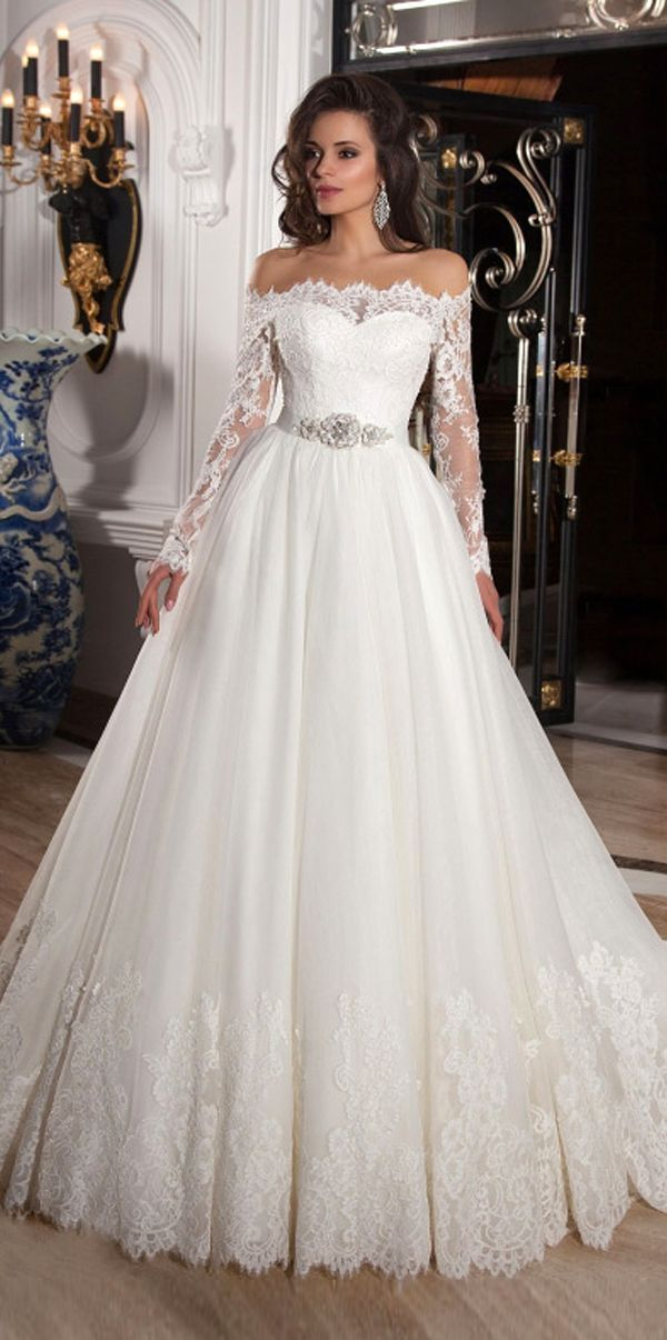 8ed4fe36cccaa Elegant Tulle Off-the-Shoulder Neckline Ball Gown Wedding Dresses with Lace  Appliques