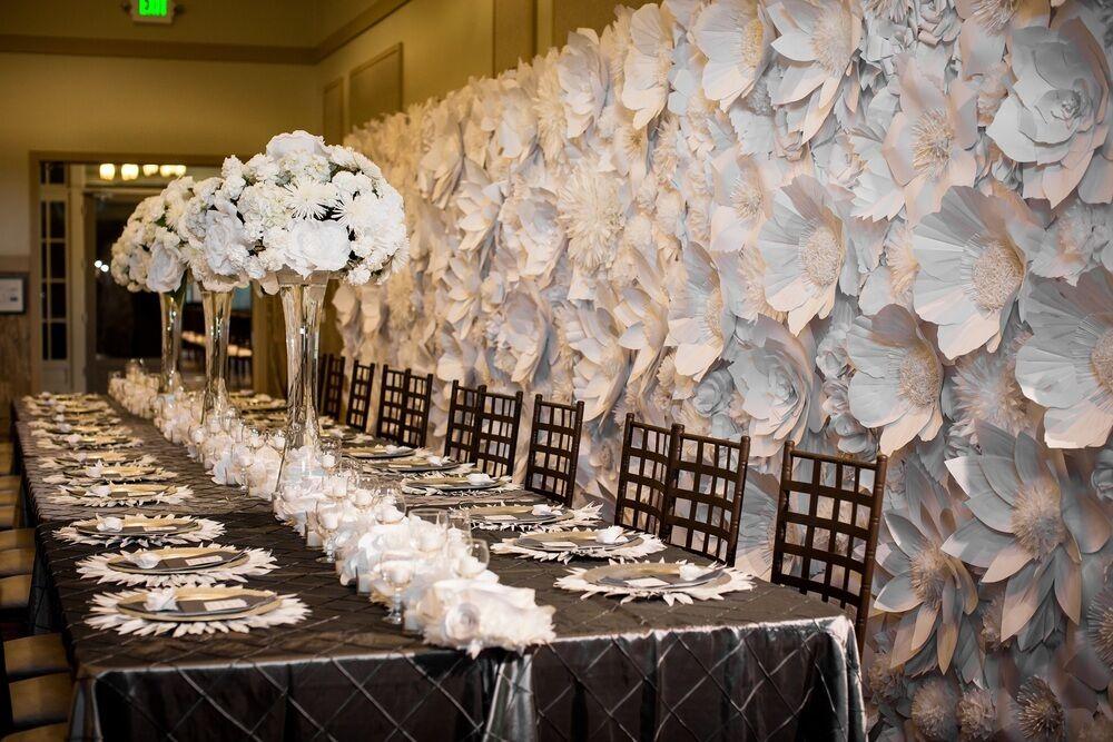Paper Flower Wedding Backdrop 8ft X 10 Ft Rental We Service Ny Nj Ct Ma Pa Ebay Paper Flowers Wedding Paper Flowers White Paper Flower Wall
