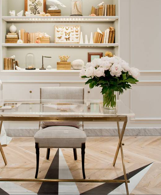 Bon A Chic Workspace At J.Crew   Beautiful Organized Bookcase And Modern Glass  Desk Completed By Fresh Flowers   Work Spaces And Office Decor   Artemest