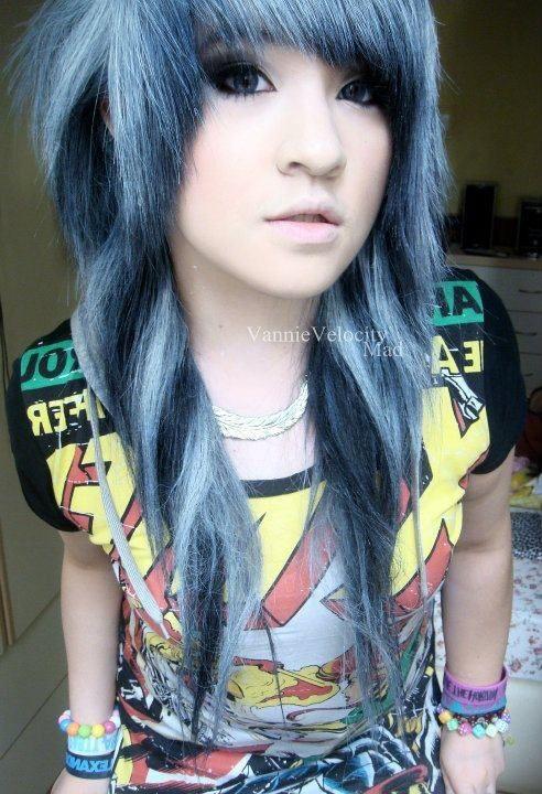 platinum blue scene hair spiral curls (Vannie Velocity)