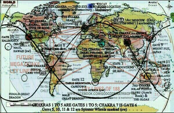 Major Ley Lines Haarp Sites Earth Chakras Map Overlaid