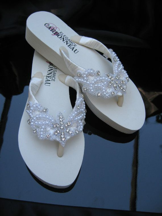 8cfd3ca81 White Flip Flops or Ivory Flip Flops with Crystals by ABiddaBling ...